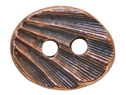 TierraCast Oval Shell 5/8 inch Pewter Button Two-Hole Copper Plated