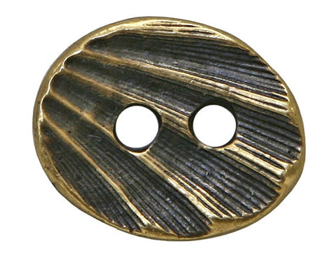 TierraCast Oval Shell 5/8 inch Pewter Button Two-Hole Brass Color