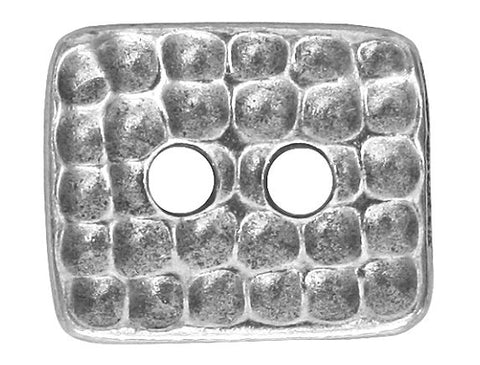 TierraCast Hammertone Rectangle 5/8 inch Pewter Button Antique Silver Color