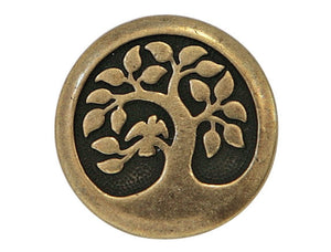 TierraCast Bird in a Tree 5/8 inch Pewter Button Brass Plated