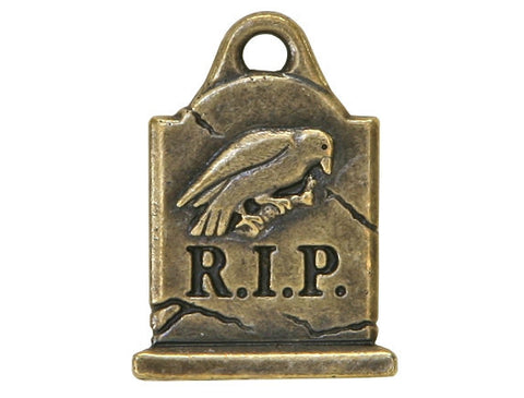 TierraCast Grave Stone 13/16 inch Pewter Charm Brass Plated