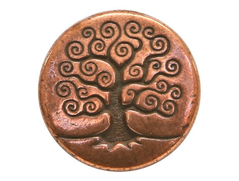 TierraCast Tree of Life 5/8 inch Pewter Button Copper Plated