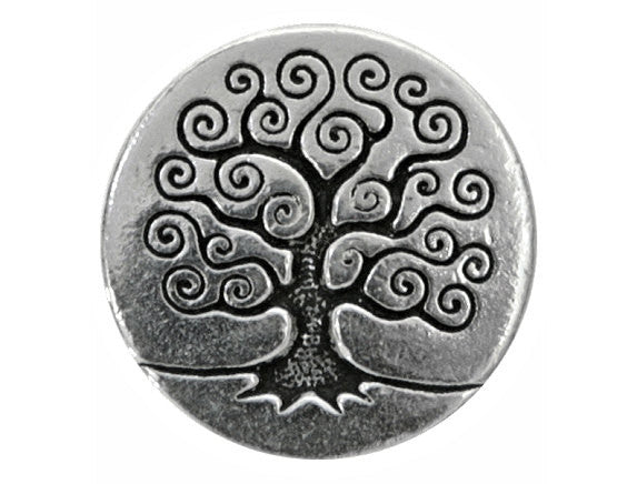 TierraCast Tree of Life<br> 5/8 inch Pewter Button<br> Silver Plated