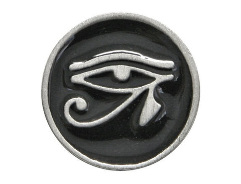 TreasureCast Eye of Horus 11/16 inch Pewter Button Silver / Black Color
