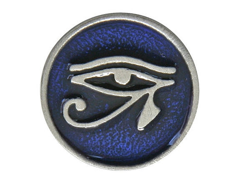 TreasureCast Eye of Horus<br> 11/16 inch Pewter Button<br> Silver / Blue Color