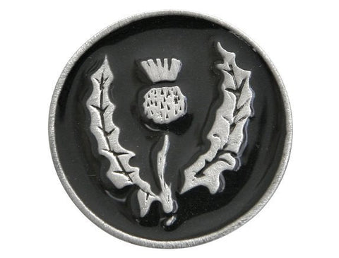 TreasureCast Round Scottish Thistle 1 inch Pewter Button Silver / Black Color