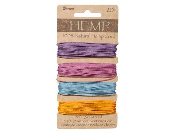 Hemp Cord Assorted Pastel Color Set ( 20 lb 120 feet )