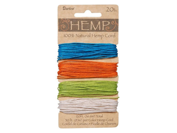 Hemp Cord Assorted Bright Color Set 20 lb (120 feet)