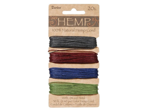Hemp Cord Assorted Earthy Darks Color Set ( 20 lb 120 feet )