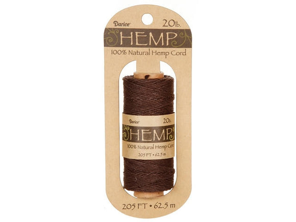 Hemp Cord Dark Brown Spool 20 lb ( 205 Feet)