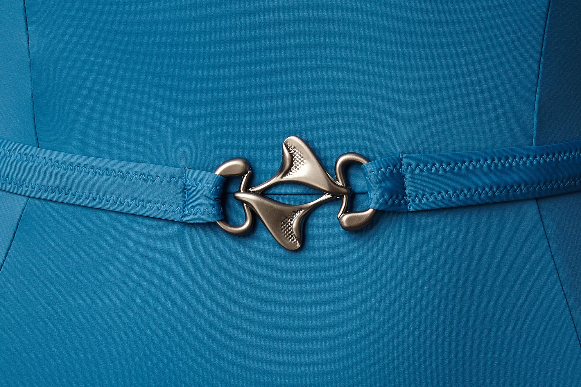 StingRay Accessory on luxury swimwear belt detail on FoxTrot blue swimsuit
