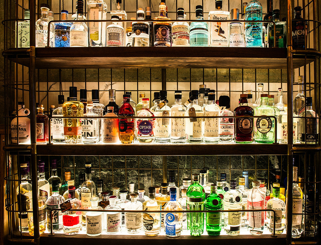 Extensive Gin bottle selection at 5 star bar Covent Garden