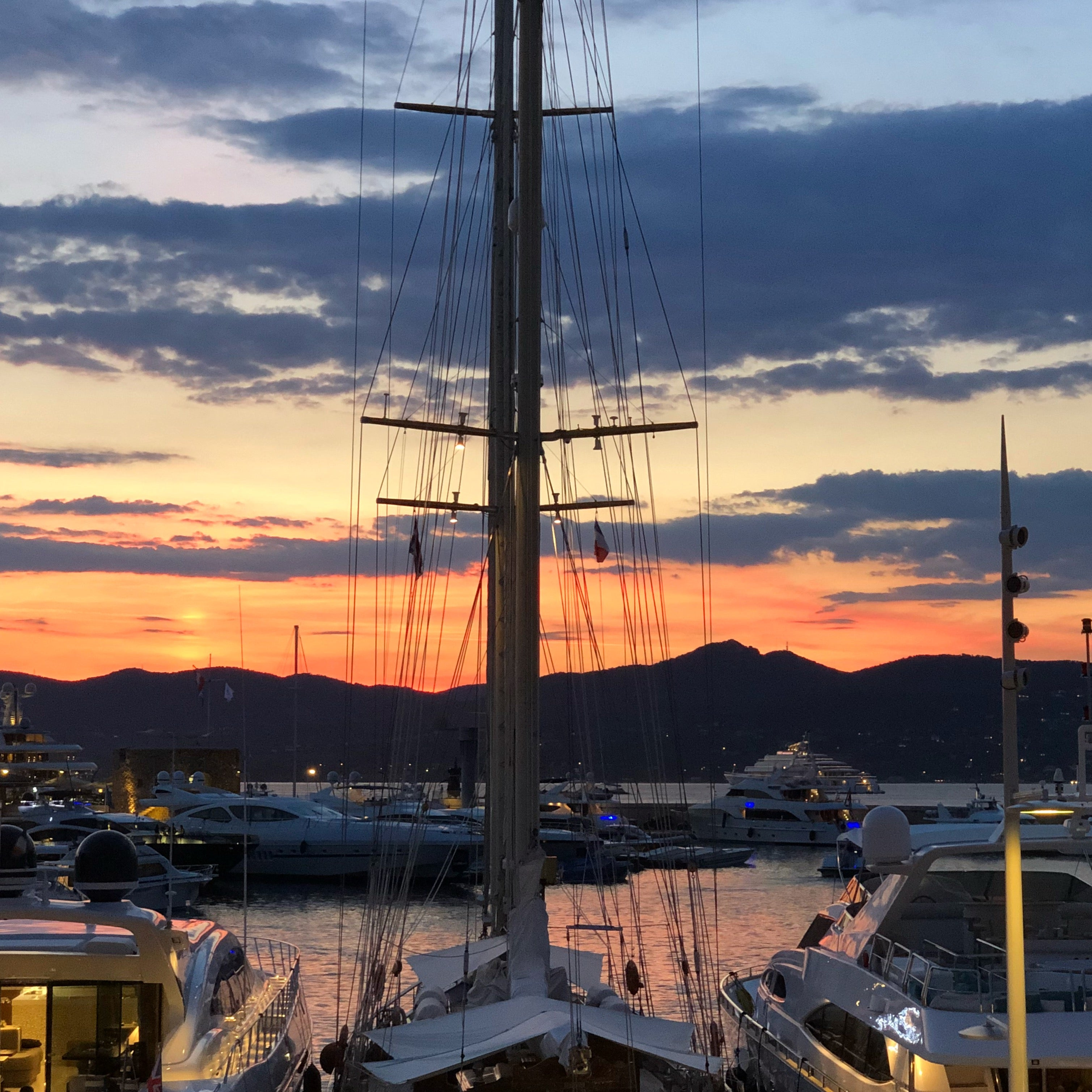 Sunset in the port of St Tropez