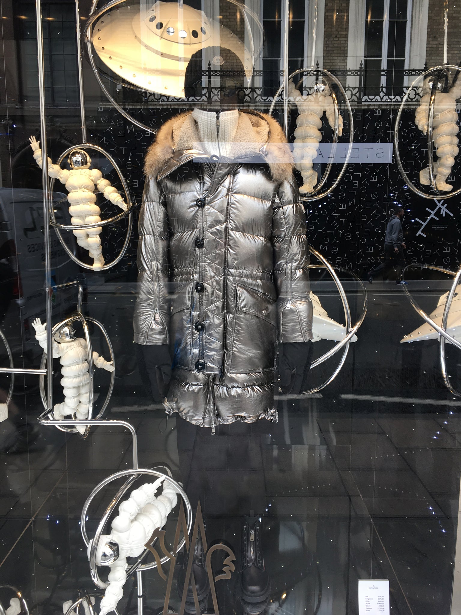 Old Bond Street London Moncler puffa coat window display Flagship store