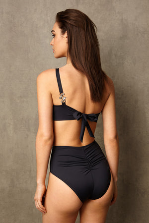 Luxury Designer swimwear Alpha Black One Shoulder High Waist Bikini back