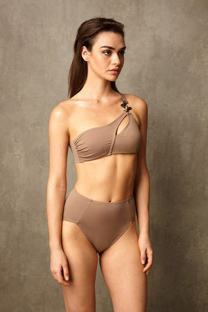 Luxury Designer Swimwear Alpha Taupe One Shoulder High Waist Bikini