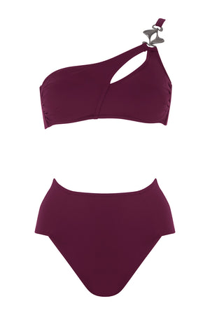 Luxury Designer Swimwear Alpha Purple One Shoulder High Waist Bikini Front