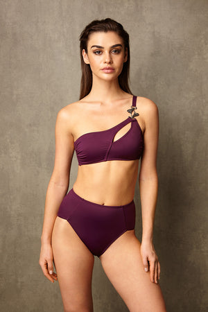 Luxury Designer Swimwear Alpha Purple One Shoulder High Waist Bikini