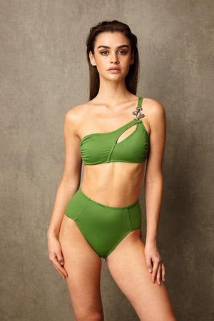 Luxury Designer Swimwear Alpha Green One Shoulder High Waist Bikini