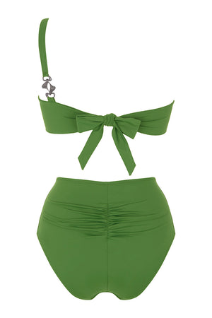 Luxury Designer Swimwear Alpha Green One Shoulder High Waist Bikini Back
