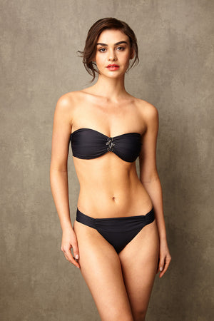 Luxury Designer Swimwear Bon Bon black bandeau strapless low rise bikini