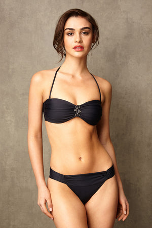 Luxury Designer Swimwear Bon Bon black bandeau low rise bikini with straps