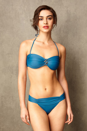 Luxury Designer Swimwear Bon Bon blue bandeau low rise bikini with straps