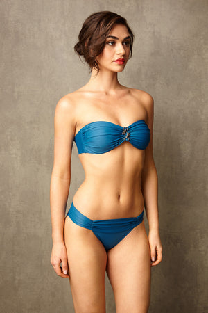 Luxury Designer Swimwear Bon Bon blue bandeau strapless low rise bikini