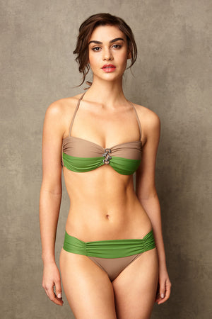 Luxury Designer Swimwear Bon Bon taupe & green bandeau low rise bikini with straps