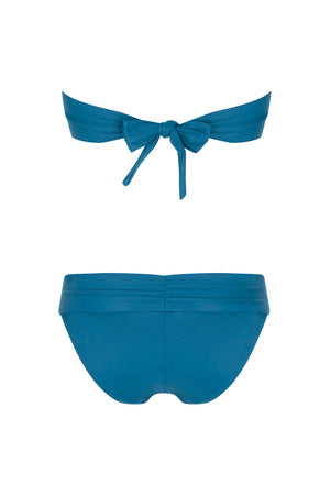 Luxury Designer Swimwear Bon Bon blue bandeau strapless low rise bikini back