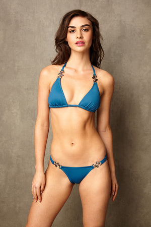 Luxury Designer Swimwear Bravo blue string triangle low rise bikini