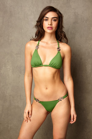 Luxury Designer Swimwear Bravo green string triangle low rise bikini