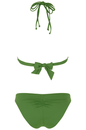 Luxury Designer Swimwear Bravo green string triangle low rise bikini back