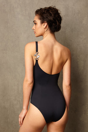 Luxury Designer Swimwear CucKoo black one shoulder swimsuit