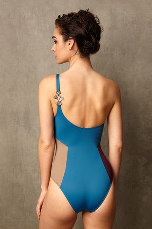 Luxury Designer Swimwear block colour CucKoo blue one shoulder swimsuit