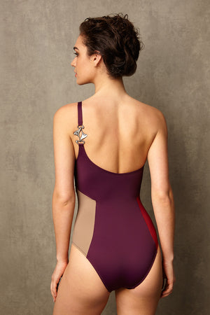 Luxury Designer Swimwear block colour CucKoo purple one shoulder swimsuit