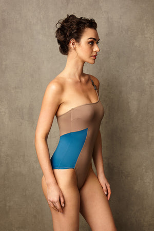Luxury Designer Swimwear CucKoo taupe one shoulder swimsuit