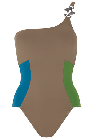Luxury Designer Swimwear CucKoo taupe one shoulder swimsuit front