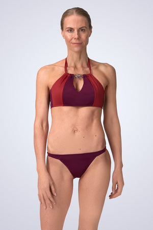 FireFly Halter Neck Peep Crop Bikini in Cassis (Malbec and Nepal) Front