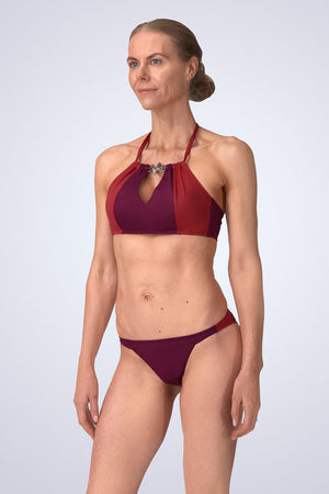 FireFly Halter Neck Peep Crop Bikini in Cassis (Malbec and Nepal) side view