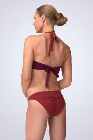 FireFly Halter Neck Peep Crop Bikini in Cassis (Malbec and Nepal) Back