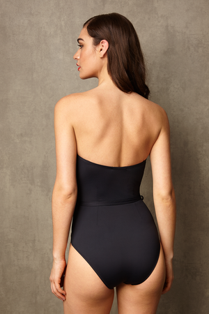 Luxury Designer Swimwear FoxTrot black bandeau strapless swimsuit