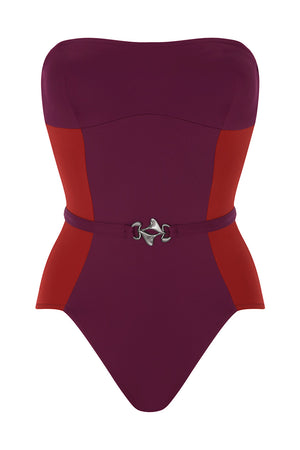 Luxury Designer Swimwear FoxTrot purple & red bandeau strapless swimsuit front