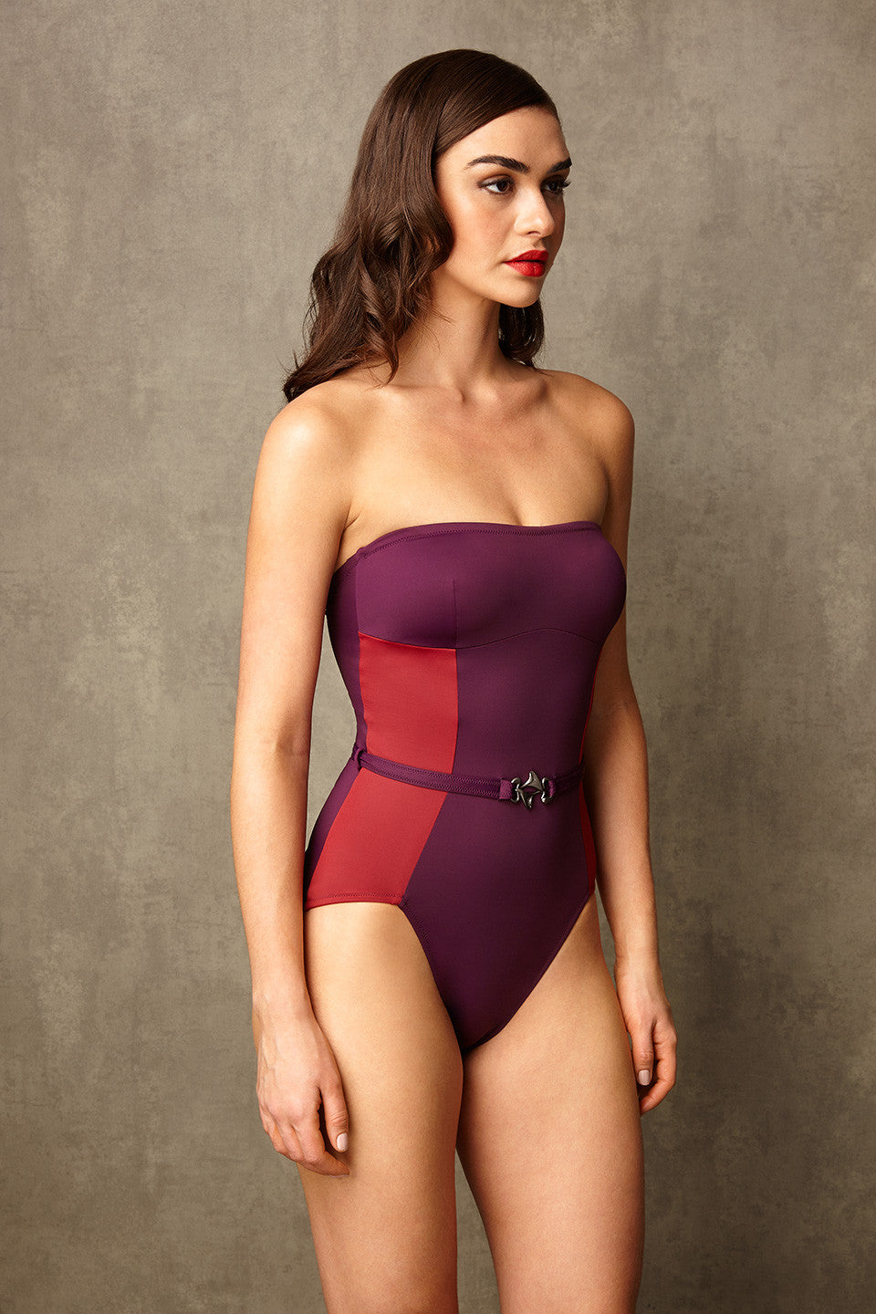 1b3bd948c4 Luxury Designer Swimwear FoxTrot purple   red bandeau strapless swimsuit