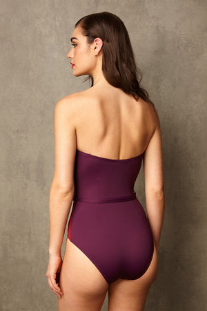 Luxury Designer Swimwear FoxTrot purple & red bandeau strapless swimsuit