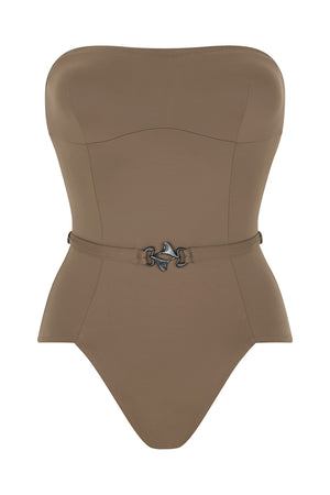 Luxury Designer Swimwear FoxTrot taupe bandeau strapless swimsuit front