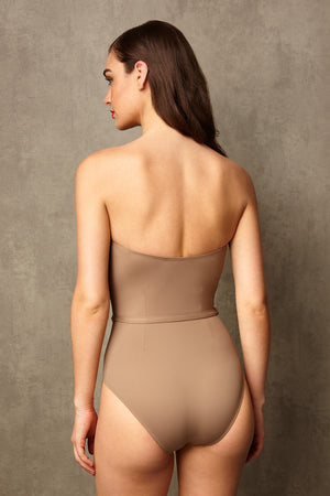 Luxury Designer Swimwear FoxTrot taupe bandeau strapless swimsuit