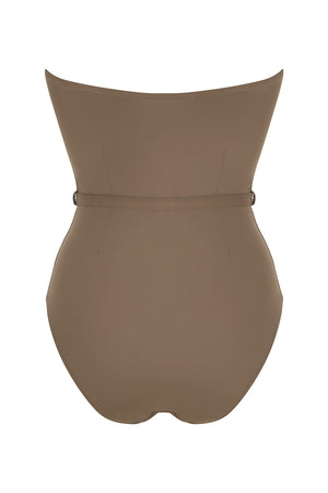 Luxury Designer Swimwear FoxTrot taupe bandeau strapless swimsuit back