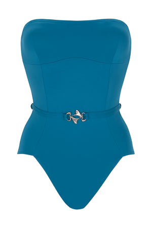 Luxury Designer Swimwear FoxTrot blue bandeau strapless swimsuit front