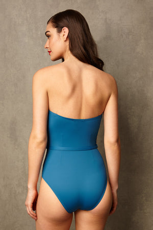 Luxury Designer Swimwear FoxTrot blue bandeau strapless swimsuit